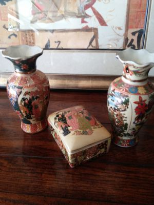 Oriental Vases and covered dish for Sale in Vero Beach, FL