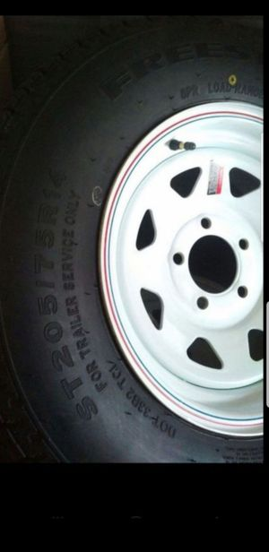 4 New 205-75-14 Trailer Tires Mounted on 14x6 white steel Rims ST-205/75/R14 inch tire FREE Delivery! for Sale in Moreno Valley, CA