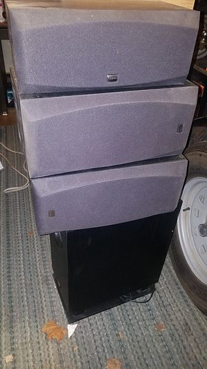 Onkyo surround speakers left right middle and base for Sale in Lakewood, CA