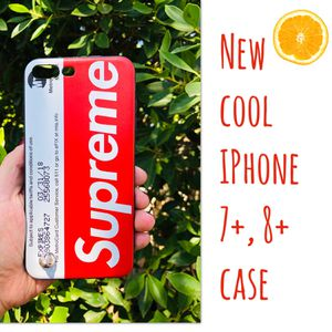 New cool iphone 7+ or iphone 8+ PLUS case rubber supreme red keychain case hypebeast hype swag men's guys women's for Sale in San Bernardino, CA