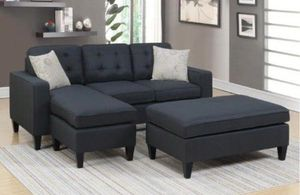Brand New Black Linen Sectional Sofa Couch + Ottoman ( 3 Color Options) for Sale in Fairfax, VA