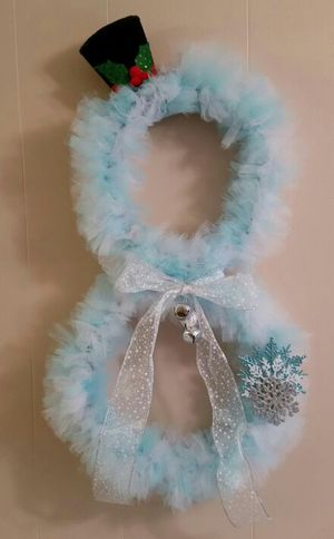 Snowman Wreath - Baby Blue and White Tulle for Sale in Great Falls, VA