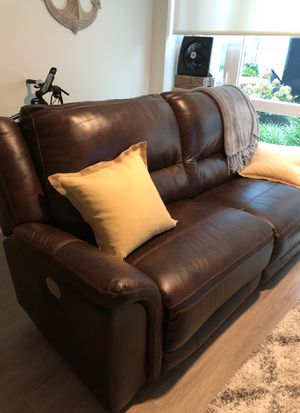 Leather electric dual reclining sofa for Sale in Seattle, WA
