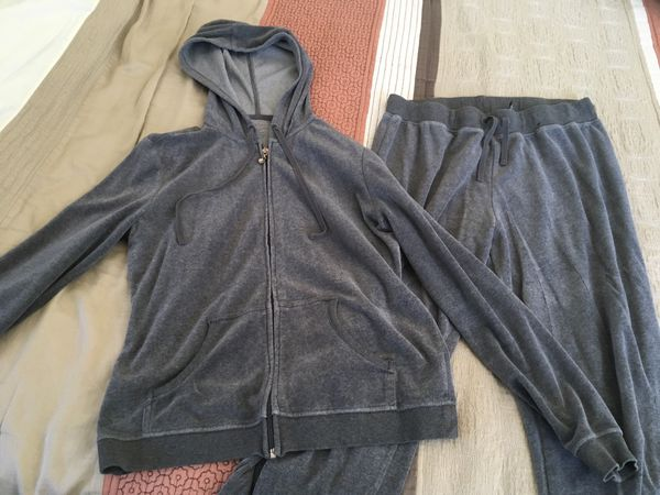 Woman's Grey NewYork & Company Velour track suits small Jacket and medium pant