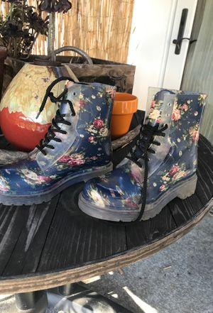 Floral boots combat style hipster rain boots for Sale in Spring Valley, CA