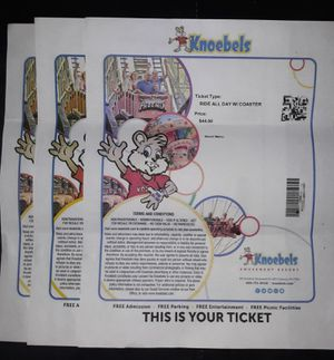 3 Knoebels ride all day with coasters passes. No expiration for Sale in Wilkes-Barre, PA