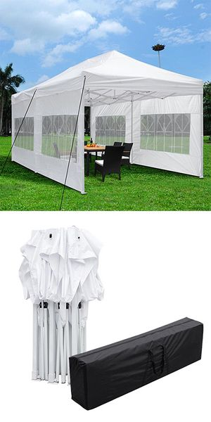 (NEW) $200 Heavy-Duty 10x20 Ft Outdoor Ez Pop Up Party Tent Patio Canopy w/Bag & 6 Sidewalls, White for Sale in South El Monte, CA
