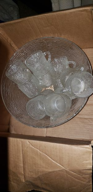 Vintage Punch bowl and 12 cups for Sale in Columbus, OH
