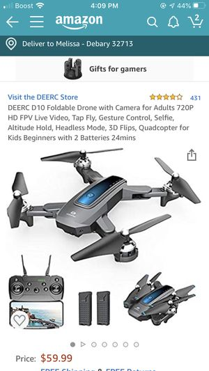 Deerc D10 Foldable Drone with Camera(for Adults) for Sale in DeBary, FL
