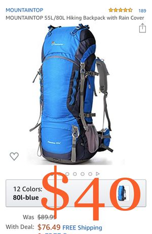 MOUNTAINTOP 55L/80L Hiking Backpack with Rain Cover for Sale in Rancho Cucamonga, CA