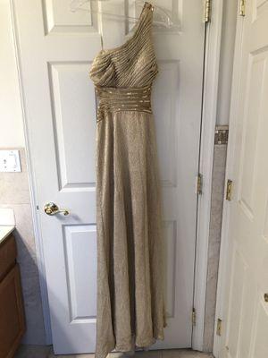 Betsy & Adam Gold 1-shoulder w/Gold Sequin/Bead Trim Formal Dress/Gown 8R for Sale in Smyrna, DE