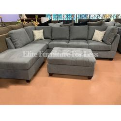 Gray Microfiber Reversible Sectional W/ Ottoman for Sale in Chula Vista,  CA