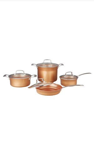 New 8 Piece Ceramic Coated Copper Cookware/Set de cocina de 8 piezas for Sale in Chino, CA