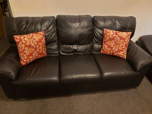 Two Black Leather sofa with 4 pillows for Sale in Elizabeth, NJ