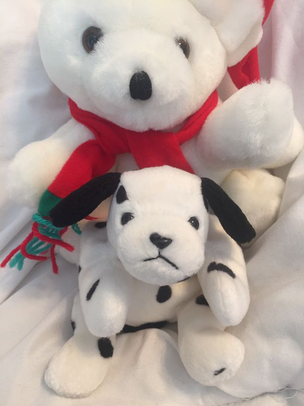 Seasonal Santa Bear And Plush Puppy