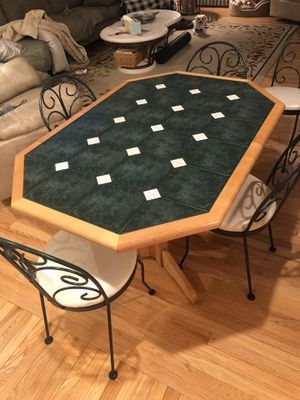 Tile Kitchen table & 5 rod iron Chairs for Sale in Ashburn, VA