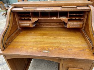 Antique Eagle lock Student Roll Top Desk Solid Wood for Sale in Mountain View, CA