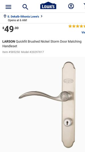 LARSON Quickfit Brushed Nickel Storm Door Matching Handleset for Sale in Lithonia, GA