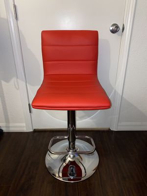 Brand new Cherry red leather adjustable height swivel vanity stool for Sale in Fullerton, CA