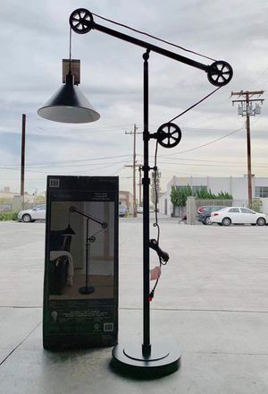 New in box 72 inches tall pulley floor lamp with led light bulb included heavy duty bronze steel finish for Sale in Los Angeles, CA