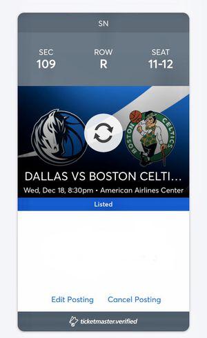 2x Mavs Vs Celtics Tickets Dec 18th for Sale in DeSoto, TX
