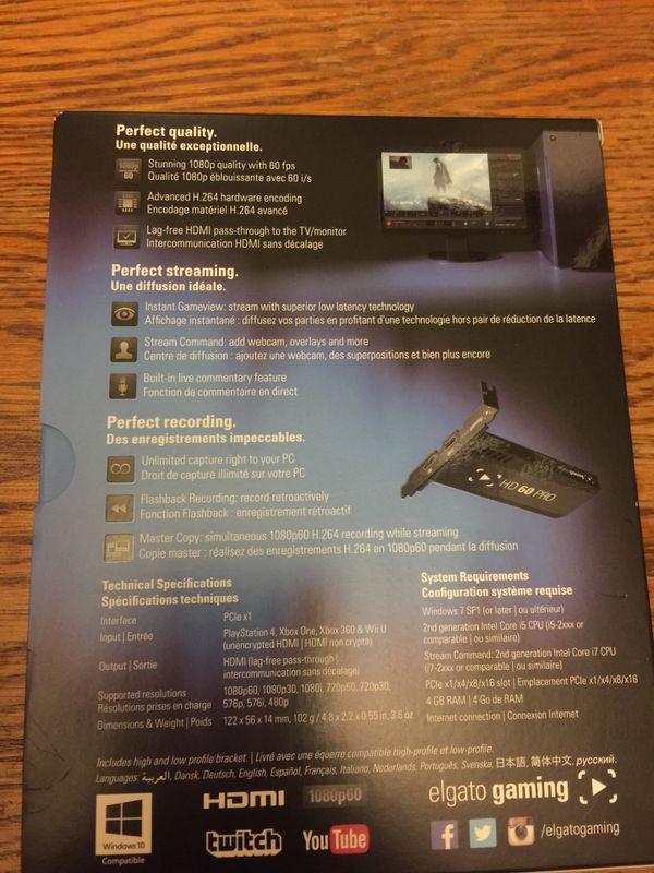 Elgato game capture card HD60 Pro brand new!