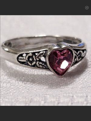 Vintage Sterling Silver & Genuine Pink Tourmaline Gemstone Heart & Scrollwork Ring Size 4 for Sale in Durbin, WV