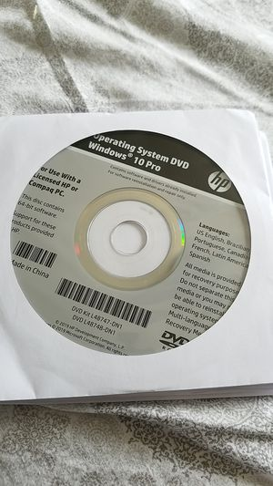Windows 10 Operating System & Application Driver Recovery DVD for Sale in Millbrae, CA