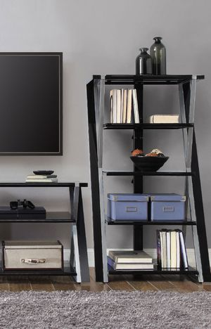 New!! Bookcase, bookshelves, 5 shelves bookcase, storage unit, organizer, shelving display, 5 shelves tempered glass audio media tower, living room for Sale in Phoenix, AZ
