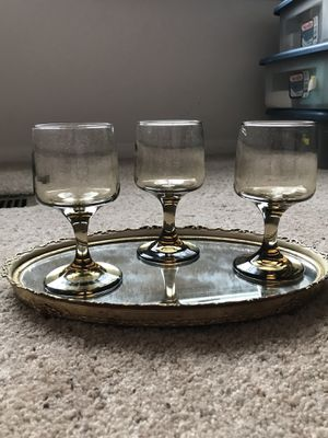 3 Vintage Mid Century Smoked Glass Wine Glasses for Sale in Falls Church, VA