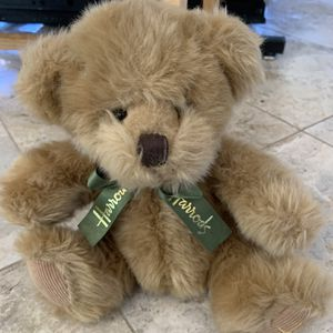 Harrods Knightsbridge Teddy Bear Plush Brown Beige Green Ribbon Bow for Sale in Carlsbad, CA