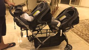 Twin stroller with car seat for Sale in Monroe Township, NJ