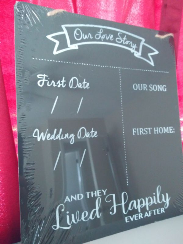 'Our Love Story' Chalkboard with Chalk- Great for Valentines Day/Weddings!