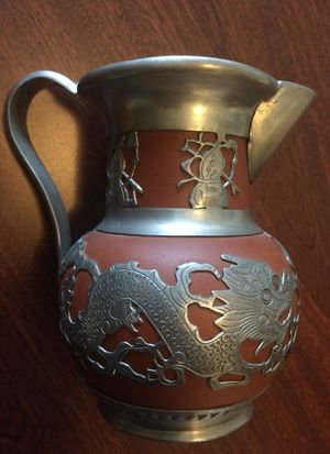 Chinese Yixing Teapot- Vintage with heavy pewter accents! for Sale in Eugene, OR