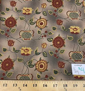 Floral on brown vintage 1/2 yard cotton fabric for Sale in Corona, CA
