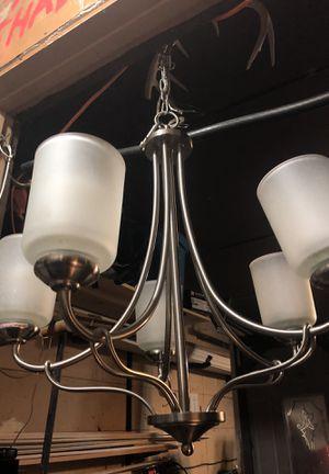 5 light satin nickel chandelier for Sale in Austin, TX