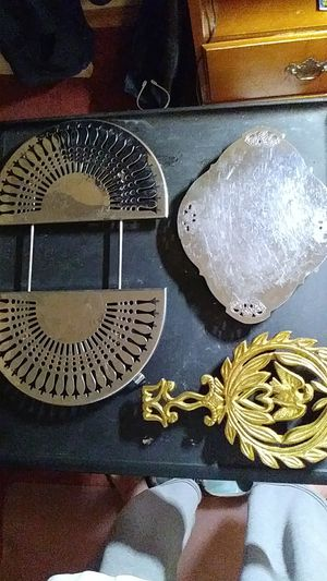 "3 Trivets 8.5"" long 5.5"" at widest point Eagle , 9 "" X 7"" Farberware, and adjustable trivet for Sale in Stoughton, MA"
