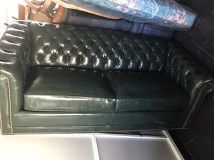 Ethan Allen Leather sofa set with pull out sleeper bed for Sale in Friant, CA
