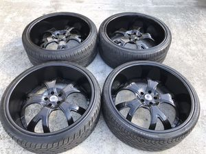 24 INCH ASANTI STAGGERED WHEELS AND TIRES, deep dish 5 lug for Sale in Auburn, WA