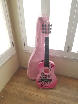 Pink Guitar and Carrier Bag for Sale in Fontana, CA