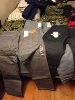 New 3 pairs Levi's jeans 34w and 3New polo style shirts for Sale in Bladensburg, MD