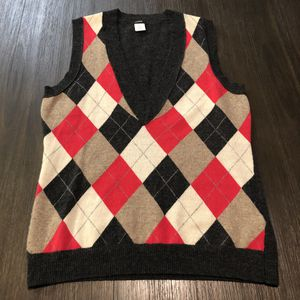 J. Crew Women's Cashmere Wool Argyle Sweater Vest Size medium for Sale in Los Angeles, CA