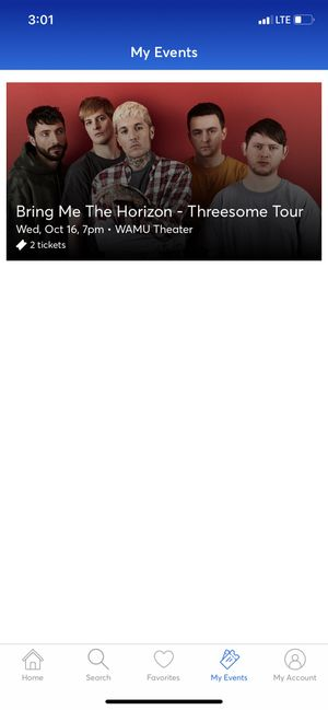 One ticket to the Bring Me The Horizon show 10-16-19 for Sale in Seattle, WA