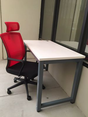 NEW $190 2pcs 48x24x30 Inches Tall Laminate Computer Office Desk and Mesh Chair with Headrest for Sale in Los Angeles, CA