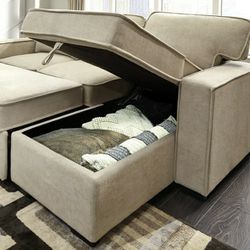 Darton Cream Sleeper Sectional with Storage 🔴$39 DOWN Payment Only 100 DAY same as cash for Sale in Philadelphia,  PA
