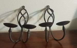 Set of Decorative Iron Wall Sconce Pillar Candle Holder for Sale in Fontana, CA