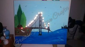 Hand painted canvas w/LED battery lights added for Sale in Lakeland, FL