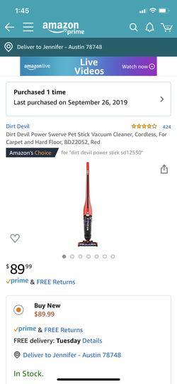 Dirt Devil Power Swerve cordless pet stick vacuum for Sale in Manchaca,  TX