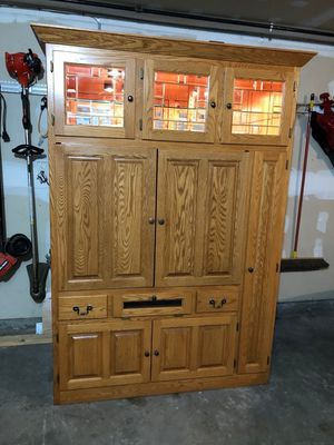 Custom made entertainment center w/lighted curio on top. OBO for Sale in West Bend, WI