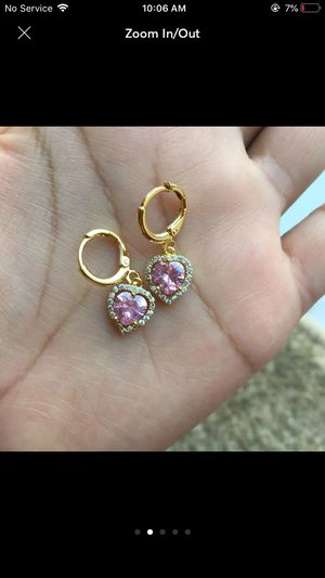 18k gold plated heart coz earrings for Sale in Silver Spring, MD